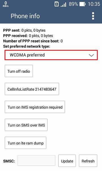 rubah wcdma menjadi lte only agar jaringan 4g terkunci