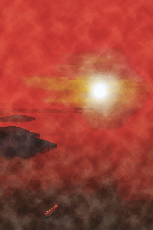 水彩画の夕日