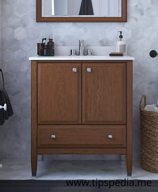 walnut bathroom cabinet