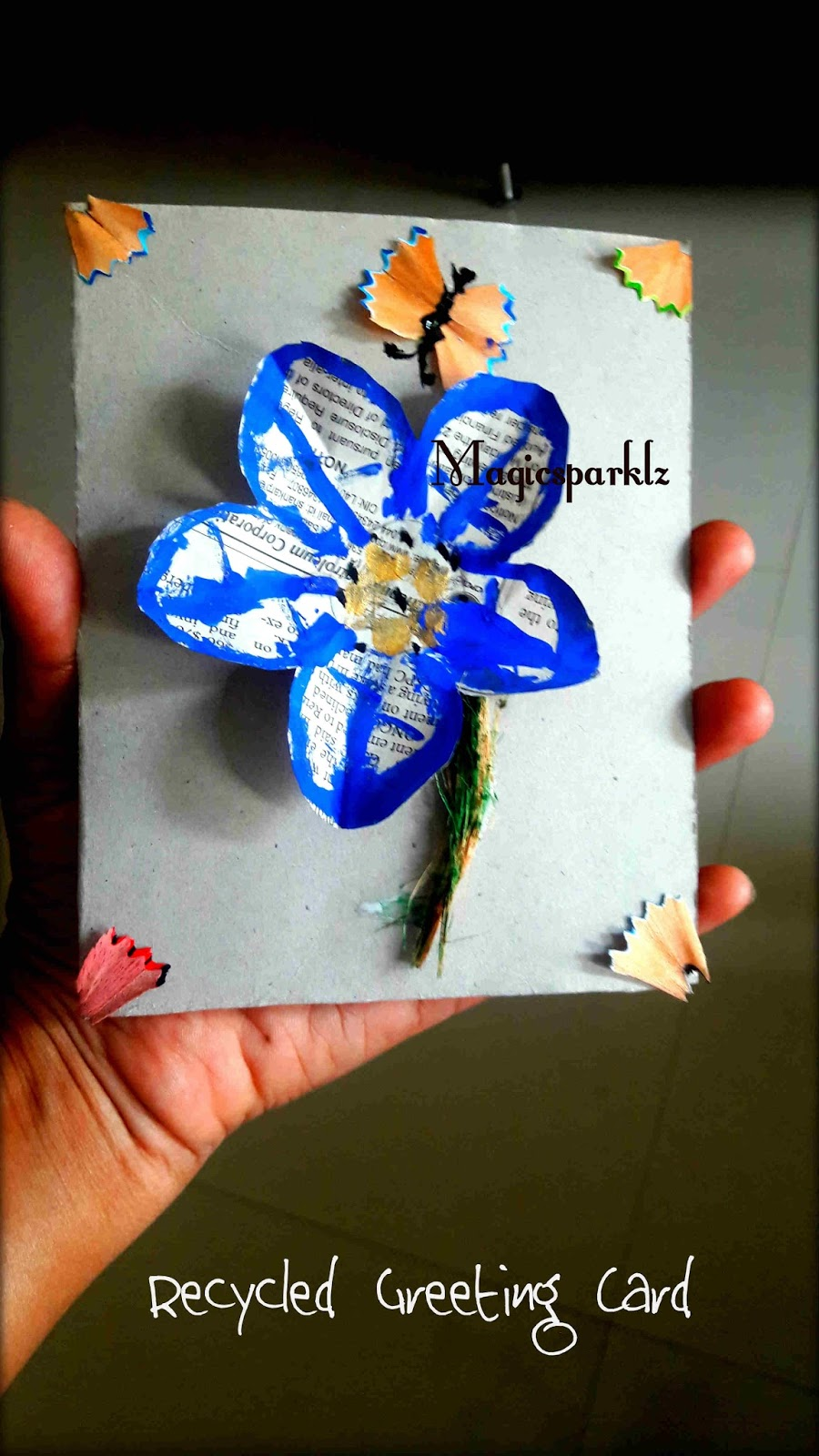 Magic sparklz how to make greeting card with recycled materials how to make greeting card with recycled materials kids recycle project kristyandbryce Gallery