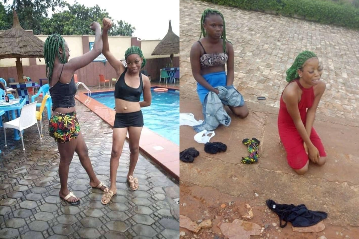 Two Young Girls Receives Serious Punishment For Impersonating The Black Axe Confraternity