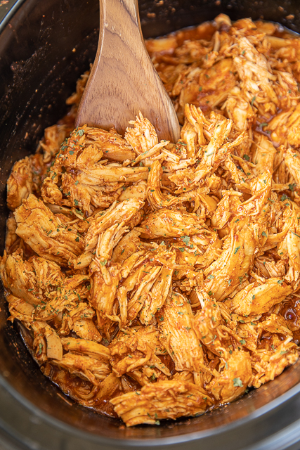 pulled bbq chicken in the crockpot