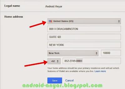 Ubah alamat Google Wallet ke United States