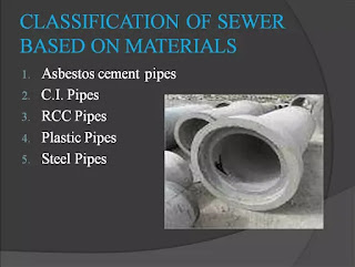classification of sewer base on material