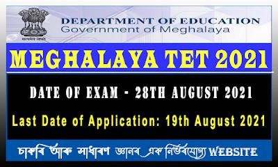 Meghalaya Teacher Eligibility Test  2021 Notification