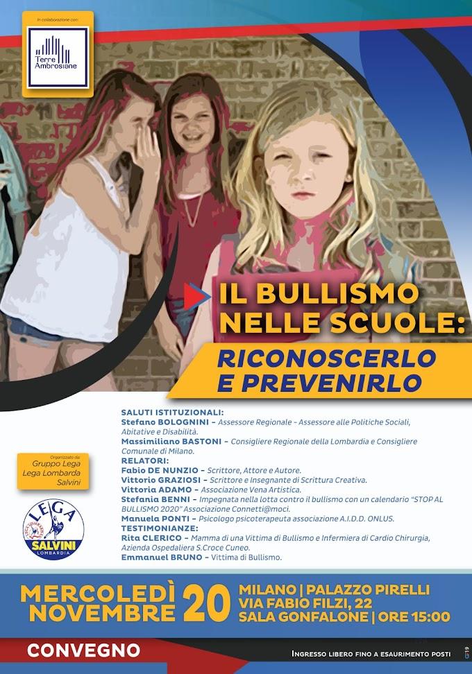 """Milano: convegno su """"Il bullismo nelle scuole: riconoscerlo e prevenirlo"""" a Palazzo Pirelli"""