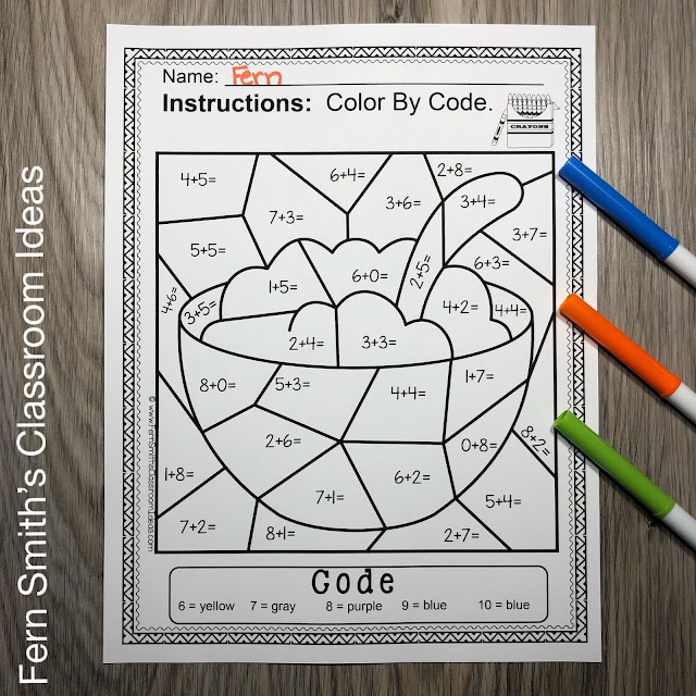 Color By Number There Was an Old Woman Who Lived In a Shoe Remediation Math For Struggling Kindergarteners for Sums From 6 to 10 Resource