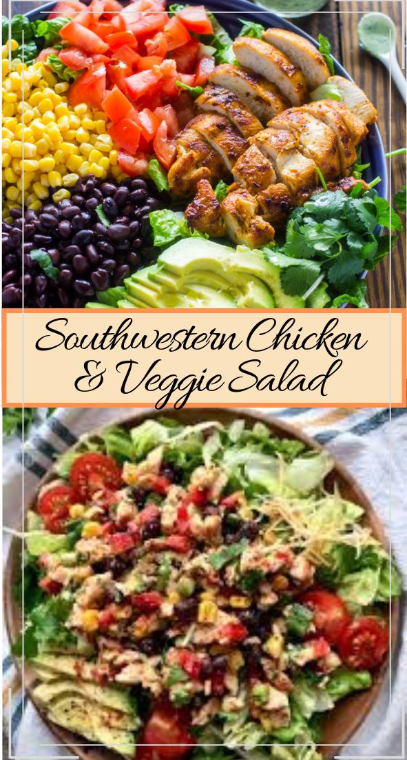 Southwestern Chicken & Veggie Salad #healthyfood #dietketo #breakfast #food