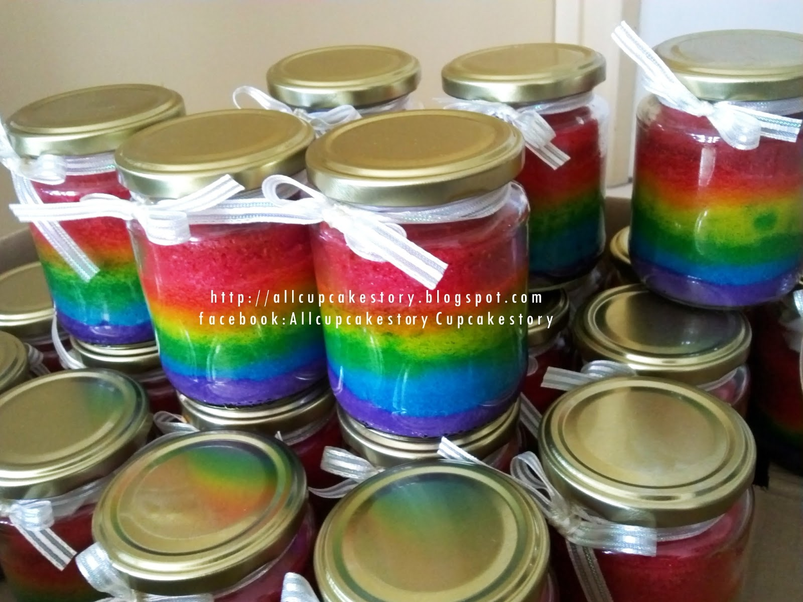 Resep Cake In Jar Rainbow: Allcupcakestory: Rainbow Cake In Jar