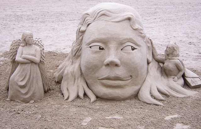 Sand sculptures on the shore. (Photo by Lori Hurley)