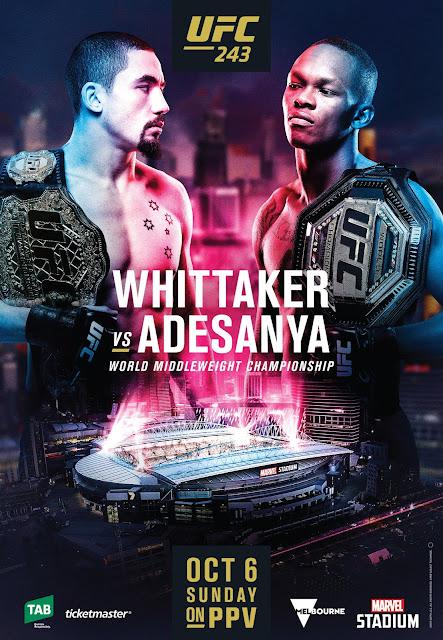 UFC 243 poster : Robert Whittaker Vs Israel Adesanya
