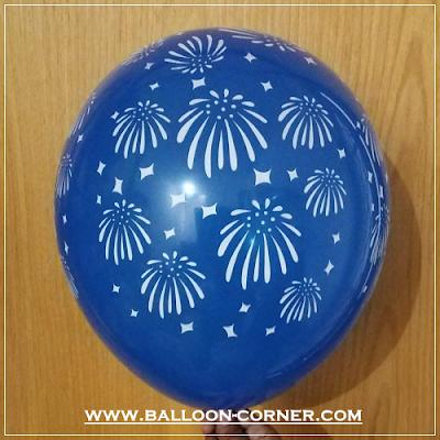 Balon Latex Print Kembang Api / Fireworks (MURAH)