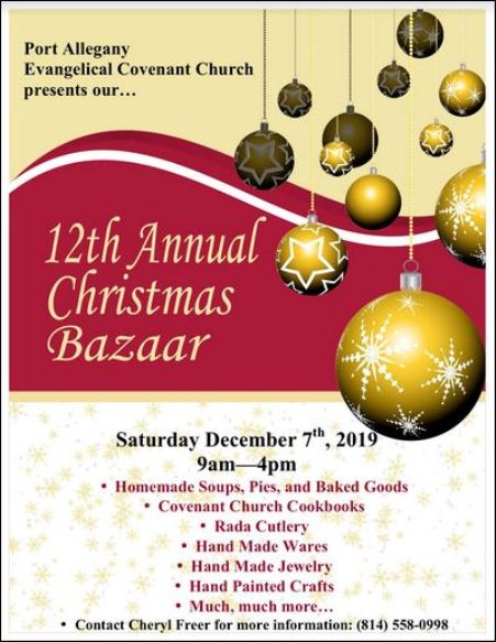 "12-7 Port Allegany Evangelical Covenant Church ""12th Annual Christmas Bazaar"""