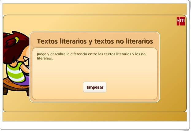 """""""Textos literarios y textos no literarios"""" (Juego de Lengua Española de Primaria)"""
