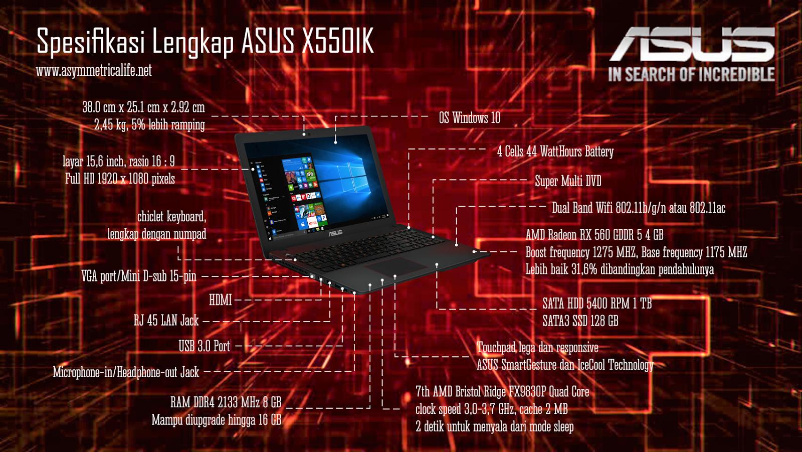 Spesifikasi Lengkap ASUS X550IK