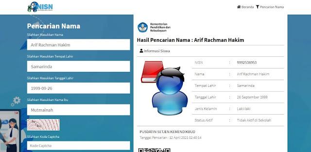 Hasil Pencarian NISN Online Melalui Website Kemendikbud