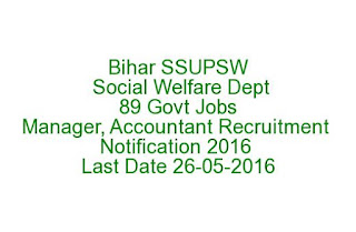 Bihar SSUPSW Social Welfare Department 89 Govt Jobs Manager, Accountant Recruitment Notification 2016 Last Date 26-06-2016