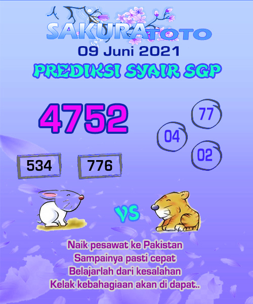 Syair Sakuratoto Singapore Rabu 09 Juni 2021