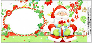 Etiquetas para Imprimir Gratis de Santa en Fondo Verde.