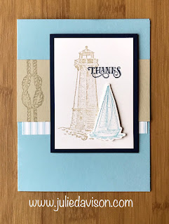 Stampin' Up! Sailing Home Thanks Card ~ masculine cards ~ 2019-2020 Annual Catalog ~ Stamp of the Month Club Card Kit ~ www.juliedavison.com