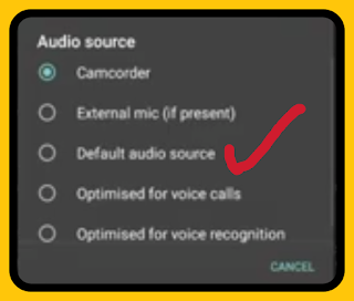 How to audio settings on open camera app