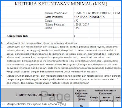 KKM Bahasa Indonesia Kelas 10 Kurikulum 2013 Revisi 2018