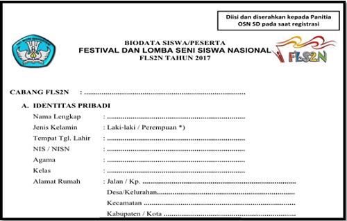 Contoh Formulir Pendaftaran Fls2n Bhineka Guru
