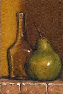 Oil painting of a green pear beside a small long-necked glass bottle.