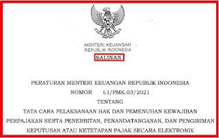 Permenkeu Nomor 63/PMK.03/2021 Tentang Tata Cara Pelaksanaan Hak dan Pemenuhan Kewajiban Perpajakan Secara elektronik