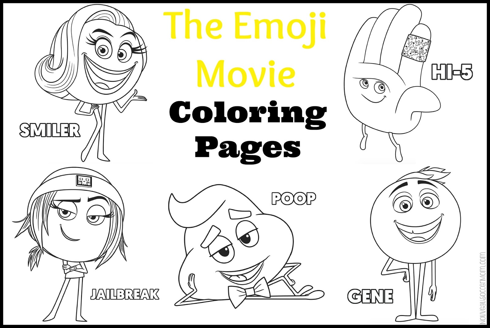 Emoji Movie Coloring Pages Printables Multiple Characters