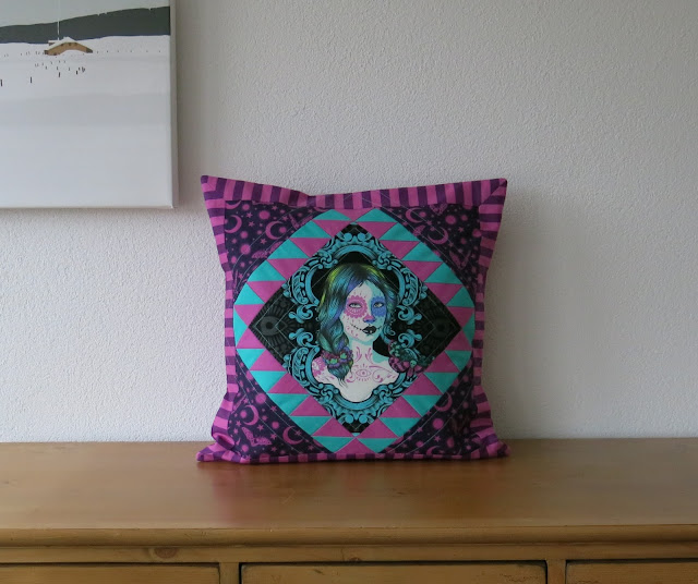 Luna Lovequilts - Quilted pillow / cushion in De La Luna collection by Tula Pink