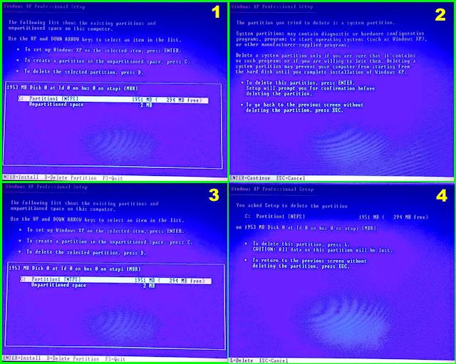 Cara Menghapus Partisi Lama dan Membuat Partisi Baru pada saat Instalasi Windows XP