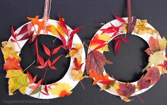 Fall Leaf Wreaths - Kid Craft   #kidcraft #fallcraft #leaves