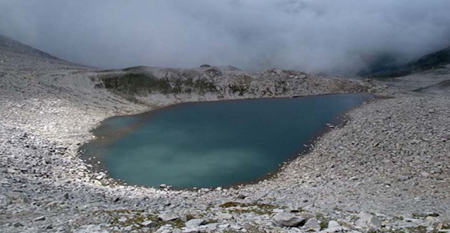Ansoo lake gets the name due to its ____.