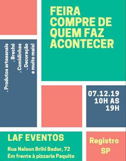 Feira Compre de quem faz Acontecer em Registro-SP neste 07/12