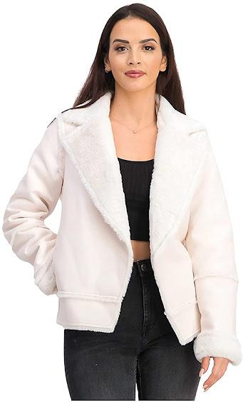 Women's Cream Faux Fur Jackets Coats