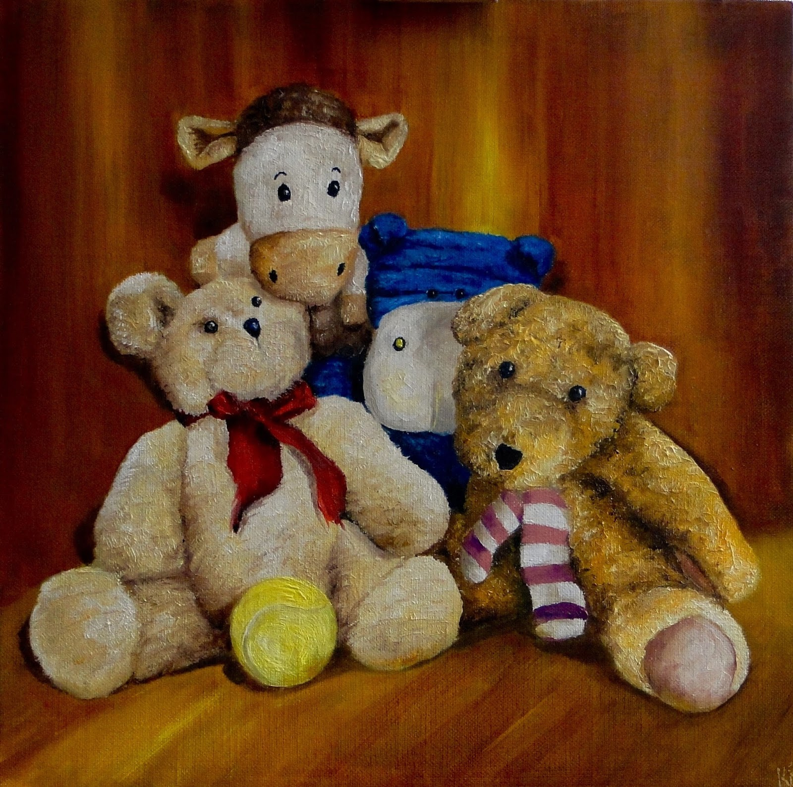 still life oil painting of teddy bears