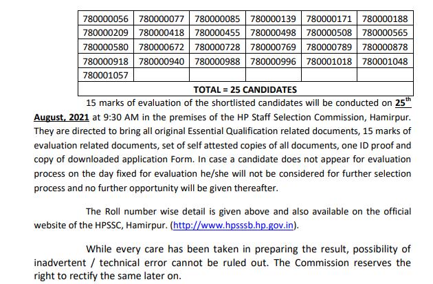 HPSSC Hamirpur Junior Technician  Post Code: 780 Result 2021