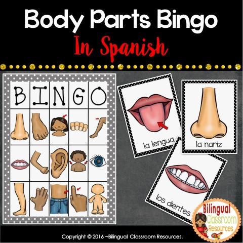 Las partes del cuerpo - Body Parts Bingo in Spanish