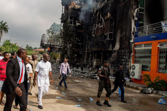 Governor Obaseki visits Hallmark Supermarket following fire outbreak
