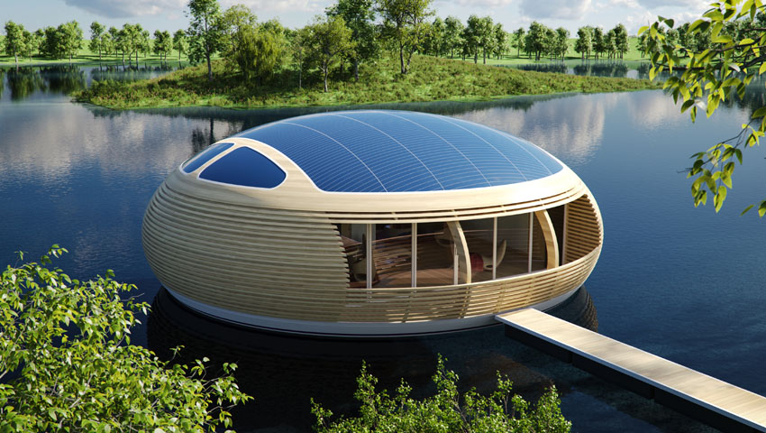 Water Nest 100: An Eco-Friendly, Solar-Powered Home Made With Near 100% Recycled Materials