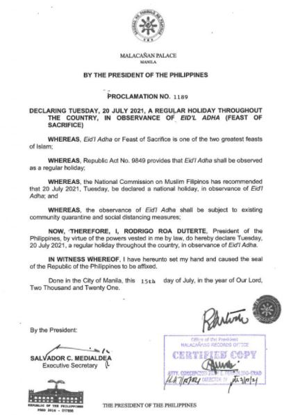 Palace declares July 20, 2021 a regular holiday for Eid'l Adha