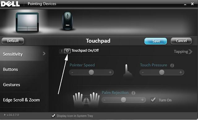 dell touchpad kapatma