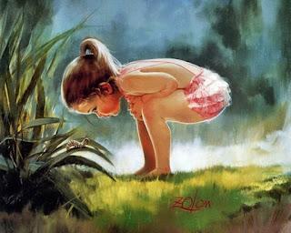 Bem-aventurado os pobres de espírito (  ). Menina descalça, com pés no gramado, vê lagarta sobre folha em planta no jardim. Ilustração de Donald Zolan.