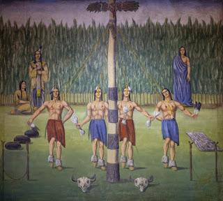 indianischer Sonnentanz Maibaum als Weltenachse und Weltenbaum, Baum des Lebens