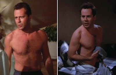 SHIRTLESS ACTORS : Bruce Willis shirtless inside a pool