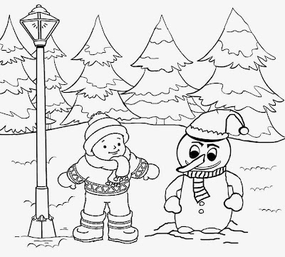 Free printable Christmas winter landscape coloring pages for teenagers clip art snowman in the snow