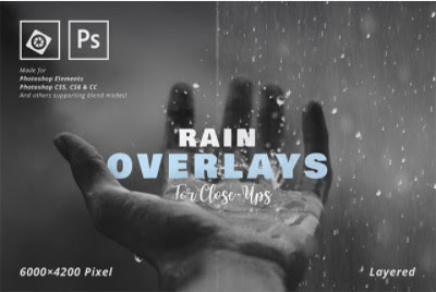 Backgrounds & Overlays - Creative Market - Rain Overlay for Close-Ups - 1728963 [JPG, PSD]