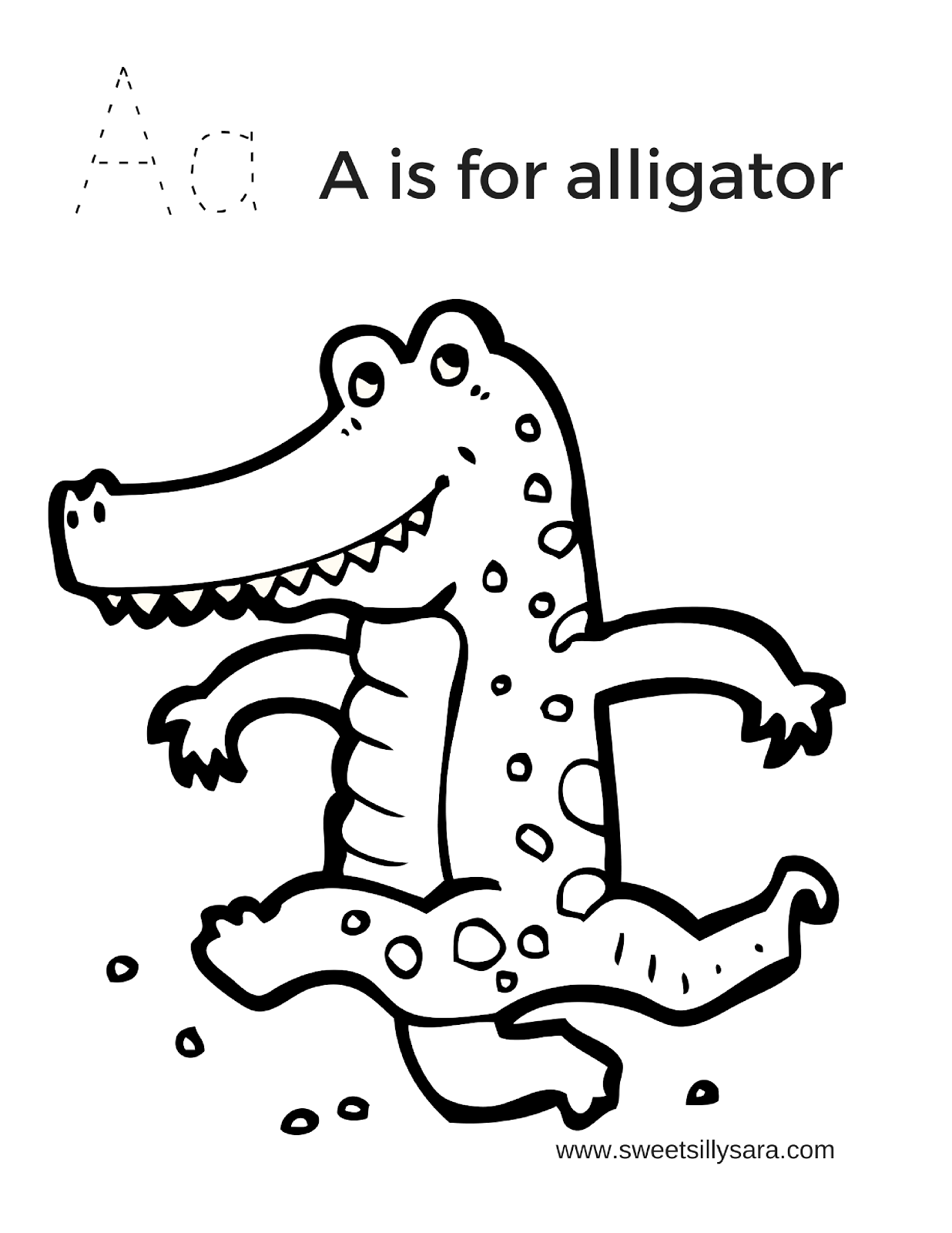 Sweet Silly Sara: A is for Alligator Coloring Page