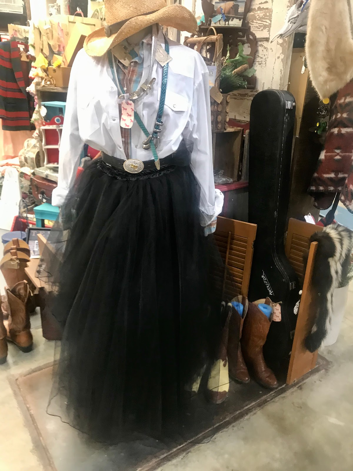 Thrift shopping and trying on black tulle skirts with tops and jewelry. Midweek Recap 1